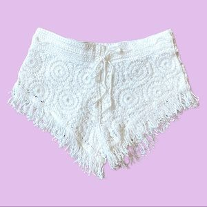 Surf Gypsy White Crochet Shorts With a Fringes